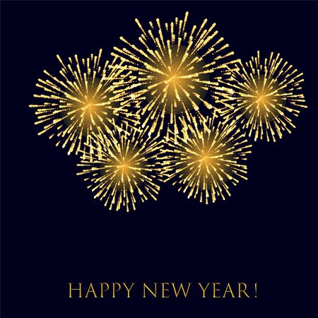 Realistic festive background exploding happy new year fireworks