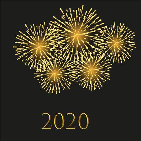 Realistic festive background exploding happy new year fireworks Reklamní fotografie - 140592412
