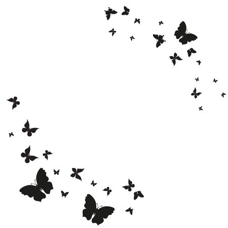 silhouette,beautiful butterflies, isolated on a white eps