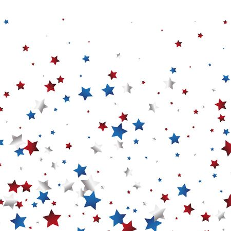 July 4 background with stardust frame. Red and blue stars border for American Independence Day graphic design. eps