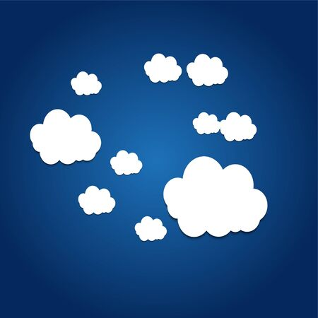 Vector abstract background composed of white paper clouds over blue.