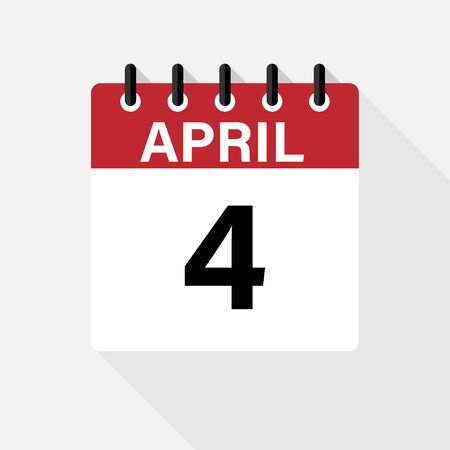 April - Calendar Icon. Calendar Icon with shadow. Flat style. Date, day and month. 向量圖像