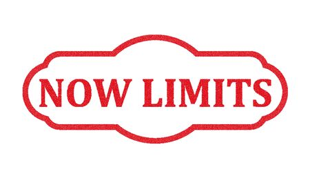 now limits sign red stamp text on white Illustration