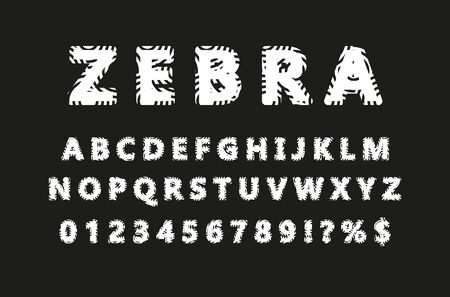 VECTOR 3D FONT ZEBRA ON WHITE BACKGROUND Illusztráció
