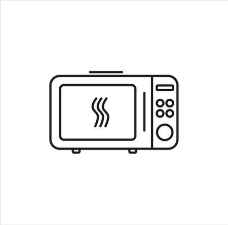 microwave line art vector icon on white background eps Illustration