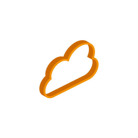 Computer Cloud icon, illustration, vector symbol in flat isometric 3D style isolated on white background. EPS