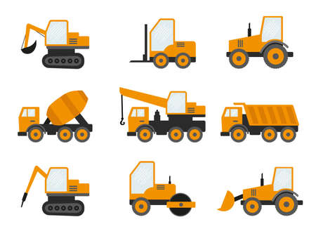 Seamless Pattern With Construction Tracks: Dipper, Bulldozer, Tractor, Excavator, Concrete Mixer. Flat Vector Illustration.