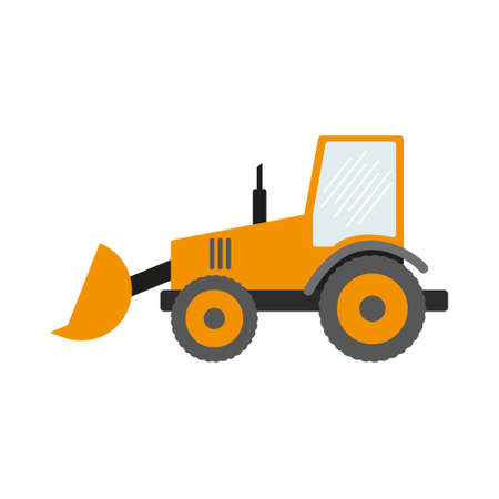 Construction equipment, machines for building work isolated icons vector. Forklifts and cranes, excavators and tractors, bulldozers and trucks.