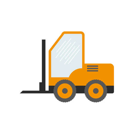 Construction equipment, machines for building work isolated icons vector. Forklifts and cranes, excavators and tractors, bulldozers and trucks. Stock Illustratie