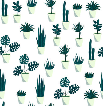 Houseplants seamless pattern. Repetitive vector illustration of various abstract houseplants on transparent background.