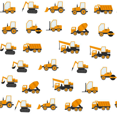 Seamless Pattern With Construction Tracks: Dipper, Bulldozer, Tractor, Excavator, Concrete Mixer. Stock Illustratie