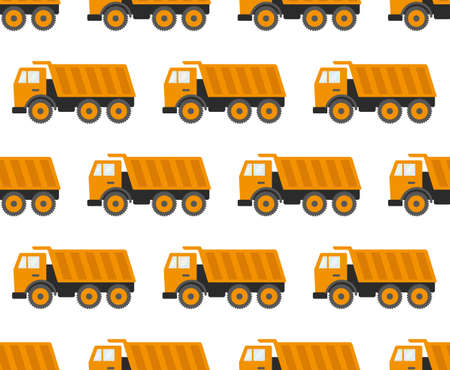 Seamless Pattern With Construction Tracks: Dipper, Bulldozer, Tractor, Excavator, Concrete Mixer. Flat Vector Illustration. eps