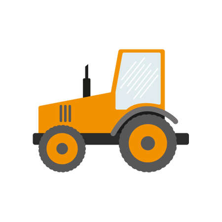 Construction equipment, machines for building work isolated icons vector. Forklifts and cranes, excavators and tractors, bulldozers and trucks. eps