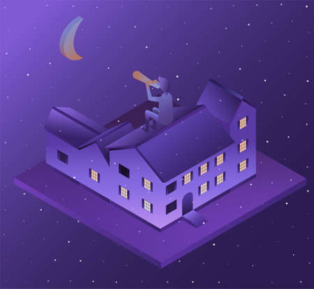 Buildings in perspective, the moon at night. House in 3D. Vector illustration.