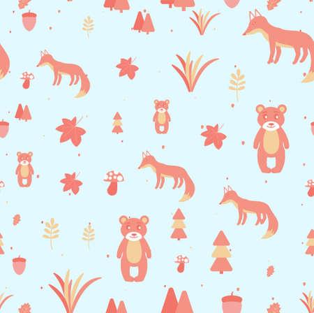 Vector Scandinavian pattern. Animals, fox, bear, wigwam, mountains, ascetic