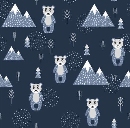 Vector Scandinavian pattern. Animals, bear, wigwam, mountains, ascetic