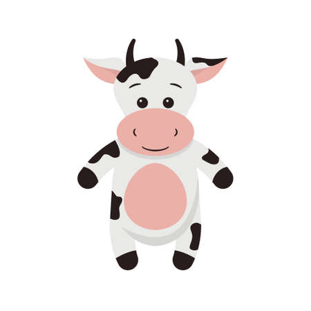Vector illustration of a cow cartoon on white background