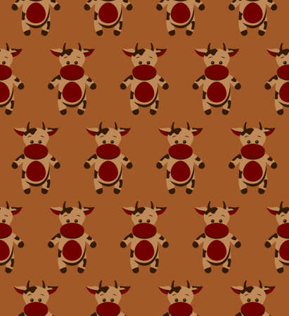 Seamless funny pattern with doodle cartoon cow