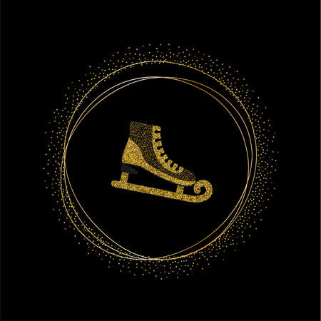 Skates with sequins and glitter. Trendy kids print. Vector hand drawn illustration.  イラスト・ベクター素材
