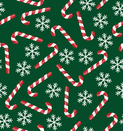 Christmas seamless pattern with candy canes, snowflakes, snow ball on blue background. Background for wrapping paper, fabric print, greeting cards. Winter Holiday design.
