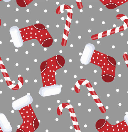 Vector illustration of seamless pattern candy cane and sock christmas cartoon