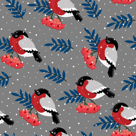 Seamless pattern with red rowan berries and bullfinches. Vector illustration on white background. Vettoriali