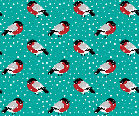 Seamless pattern of bullfinch and snow. 向量圖像