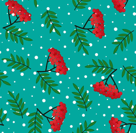 Seamless pattern with bunches of rowan berries on a white background. Vector sketch. Use for packaging, fabrics, backgrounds, web ads, design, napkins. 向量圖像