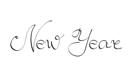 Vector illustration. Handwritten calligraphic brush lettering composition of Happy New Year on white background.