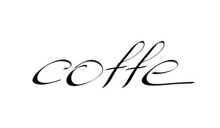 Coffee vector typography, sign in black and white. Advertising poster or template design. Modern lettering, coffee signboard. Design elements. Vector illustration.  イラスト・ベクター素材