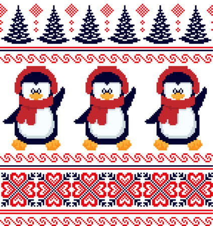 New Years Christmas pattern pixel in penguins vector illustration