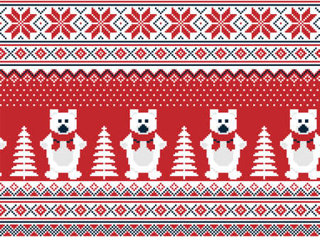 New Years Christmas pattern pixel in bears vector illustration  イラスト・ベクター素材