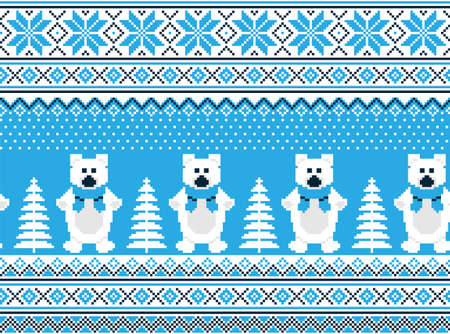 New Years Christmas pattern pixel in bears vector illustration 向量圖像