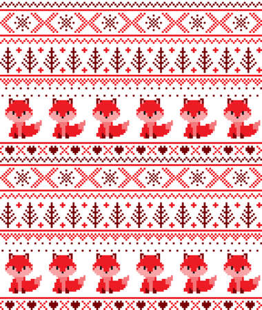 New Years Christmas pattern pixel with foxes vector illustration  イラスト・ベクター素材