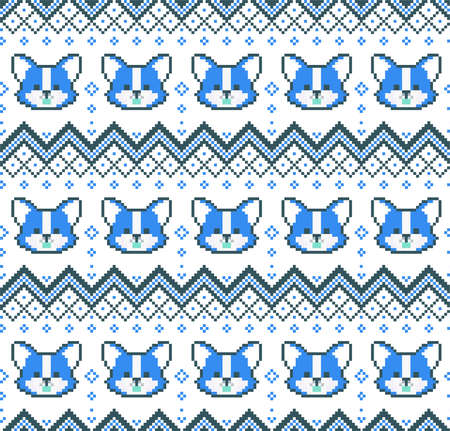 New Years Christmas pattern pixel with dogs vector illustration