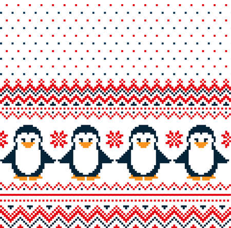 New Years Christmas pattern pixel with penguins vector illustration