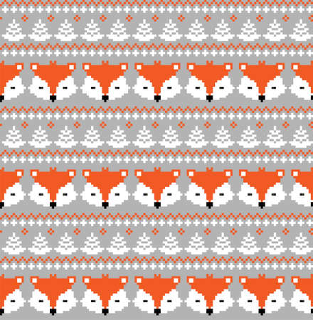New Years Christmas pattern pixel with foxes vector illustration 向量圖像