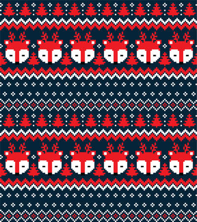 New Years Christmas pattern pixel vector illustration  イラスト・ベクター素材