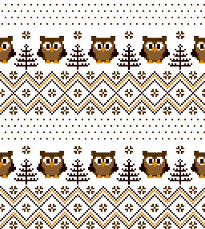 New Years Christmas pattern pixel with owls vector illustration