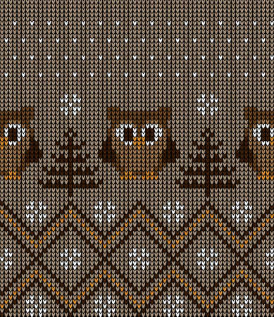 New Years Christmas pattern knitted with owls vector illustration eps