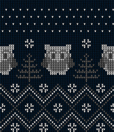 New Years Christmas pattern knitted with owls