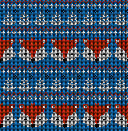 New Years Christmas pattern knitted with foxes