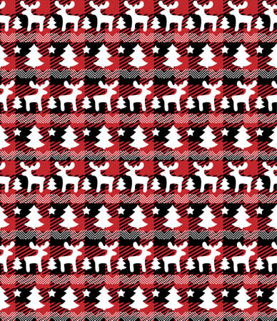 Buffalo plaid Christmas Jingle Bells on the background of the music page. Festive seamless pattern. Vector illustration.