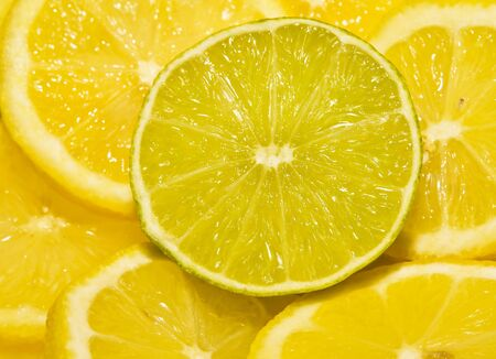レモン部分の周りラウンド カット ライム セグメント
