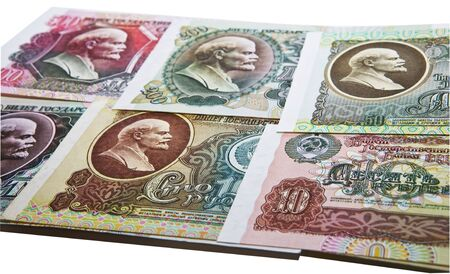 레닌의 초상화와 소비에트 소련 지폐 스톡 콘텐츠