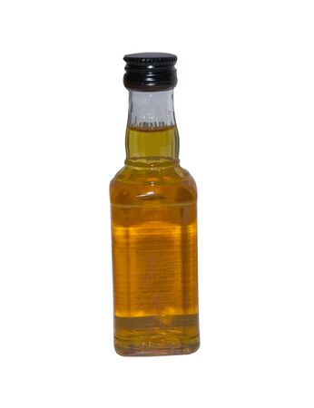 over packed: Packed whiskey bottle isolated over a whte background Stock Photo