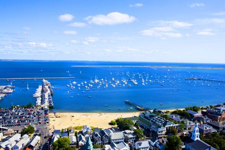 harbours: View of Cape Cod harbor Stock Photo
