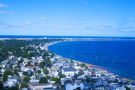 arial: View of Provincetown and its bay from atop the Pilgrim Monument