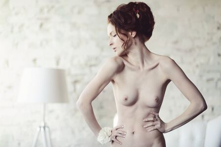 Beautiful nude sexy lady in elegant pose. Fashion portrait of girl indoors. Closeup beauty brunette woman with attractive body. Close up naked female model Stock Photo