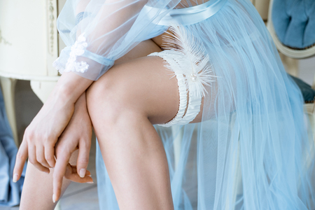 adult sex: Beautiful sexy lady in elegant blue robe and garter